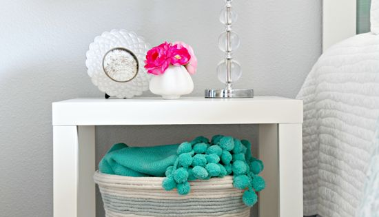DIY Home Decor: DIY Rope Basket. Plus, space saving storage and end