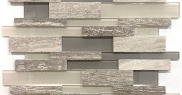 Avenzo 12-in x 12-in 3D Wooden Light Grey Stone and Glass Linear Mosaic Wall Tile ...