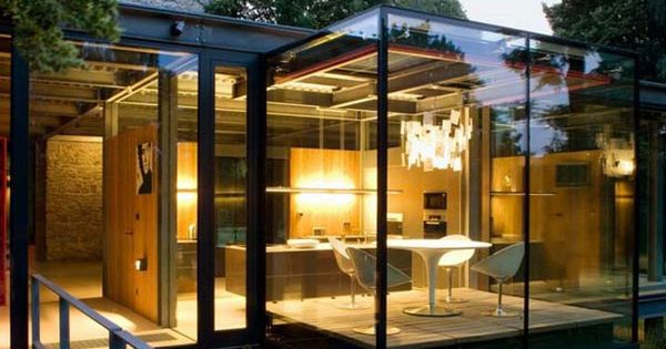 modern house, glass box