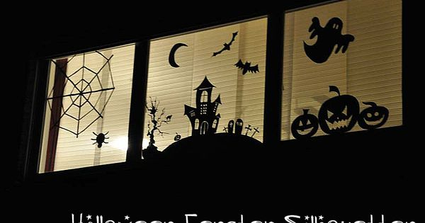 halloween window silhouette fensterbild. Black Bedroom Furniture Sets. Home Design Ideas