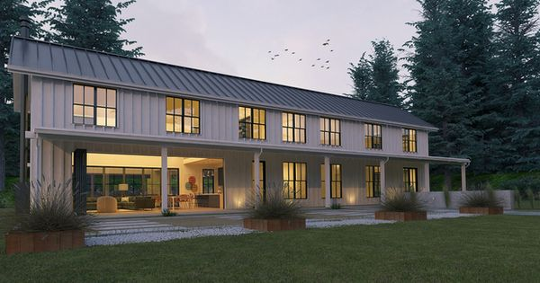 Modern Farmhouse style plan modern design home front elevation