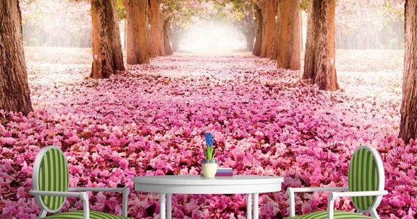 pas cher 3d papier peint arbres de fleurs rose murale personnalis e paysage naturel photo. Black Bedroom Furniture Sets. Home Design Ideas