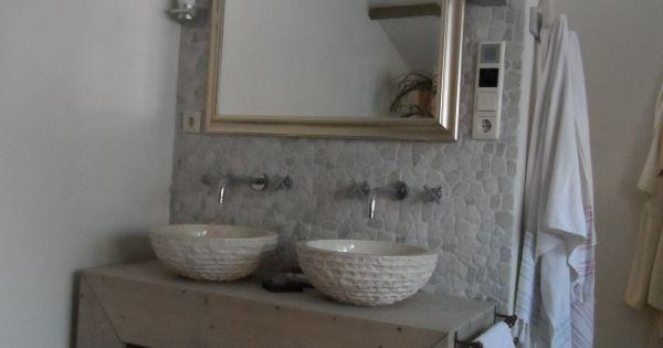 Badkamer meubel recht van steigerhout met greywash badkamerinspiratie pinterest - Badkamer meubel model ...