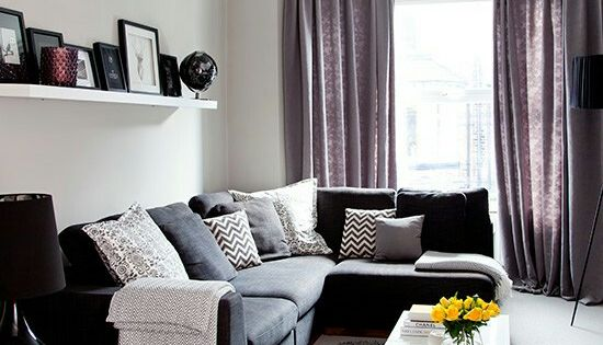 Black and grey and white and yay home is where the heart is for Black and purple living room ideas