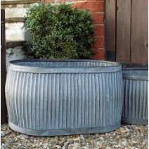 Large Antique Design Galvanised Oval Dolly Planter Tub In 2020 Large Garden Planters Large Outdoor Planters Garden Planters Pots