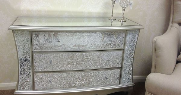 Large Sparkly Silver Crackle Mosaic Mirrored Glass 3 Drawer Chest