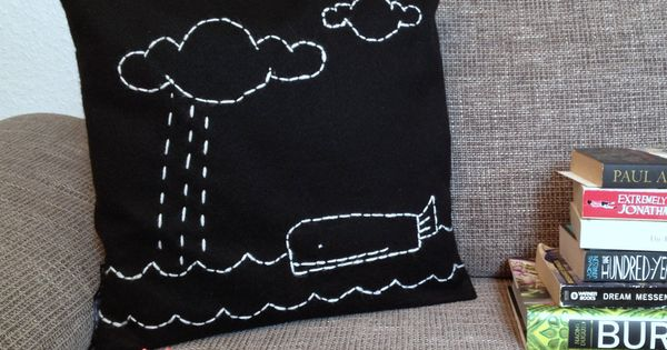 Throw Pillow Case - Whale Story - Embroidered Motive - Black Felt and White Embroidery - small ...