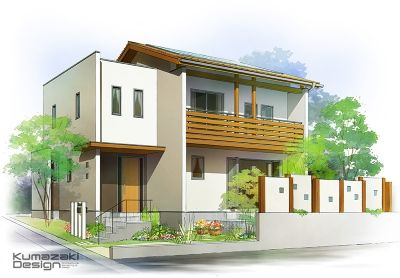 一戸建て住宅 外観パース Kumazaki Design Blog Modern House