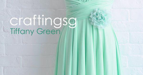 Bridesmaid Dress Infinity Dress Tiffany Green Knee Length Wrap Convertible Dress Wedding