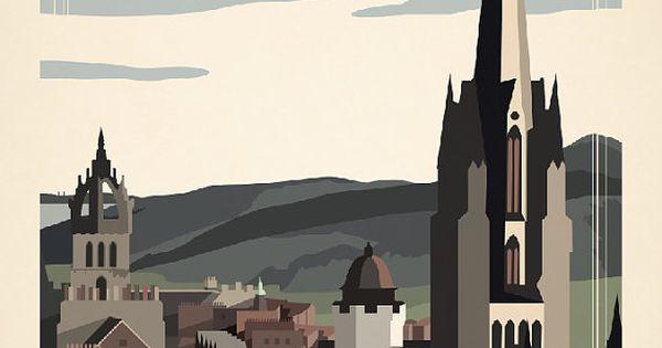 Edinburgh, Scotland Travel Poster inspired by vintage travel prints from 19th century