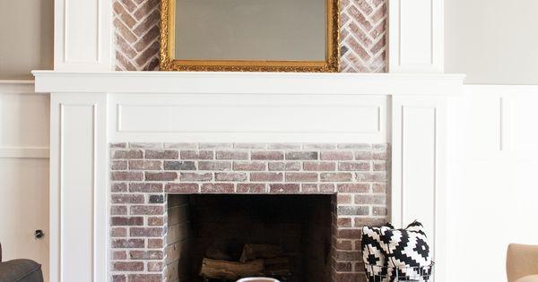 Custom Fireplace With Herringbone Brick Work By