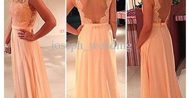Wholesale Bridesmaid Dress - Buy !High Quality Nude Back Chiffon Lace Long