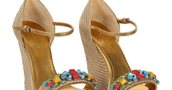 Gucci Gold-tone Metallic Leather Espadrille Wedge Sandals