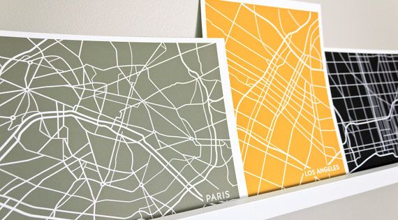 choose a city and a color - city street map art
