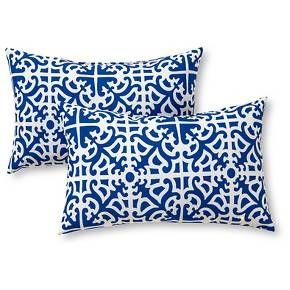 Set Of 2 Lattice Outdoor Rectangle Throw Pillows Kensington Garden Outdoor Decorative Pillows Outdoor Accent Pillow Outdoor Pillows