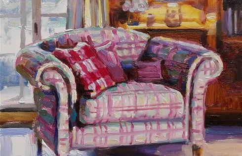 Daily Paintworks Plaid Loveseat Original Fine Art For Sale C Elena Katsyura In 2020 Love Seat Interior Art Original Fine Art