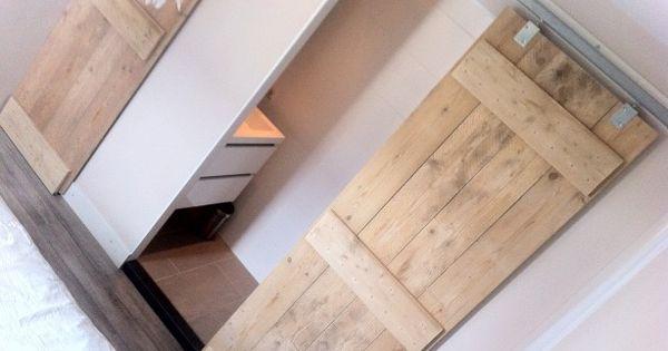 Onze slaapkamer met steigerhouten schuifdeuren naar de badkamer en kast bedroom pinterest - Onze mooie ideeen ...