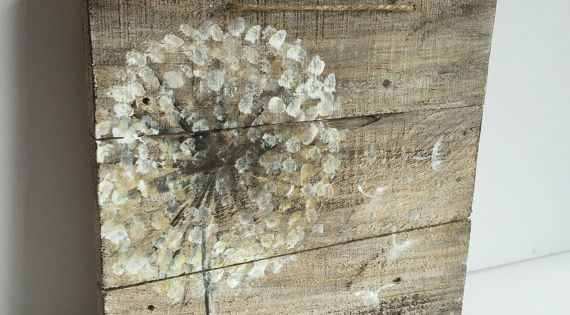 Dandelion On Rustic Wood Reclaimed Wood Original Handmade
