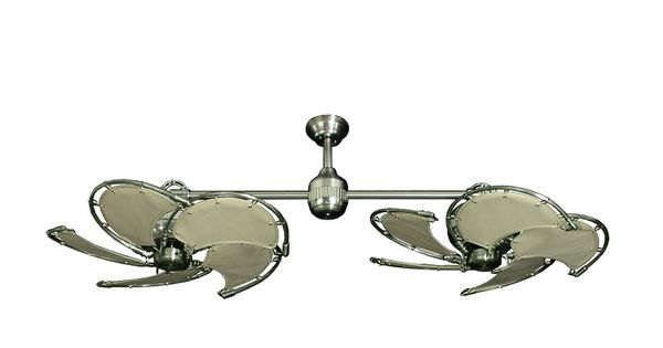 Twin Star II Brushed Steel Nautical Dual Ceiling Fan With