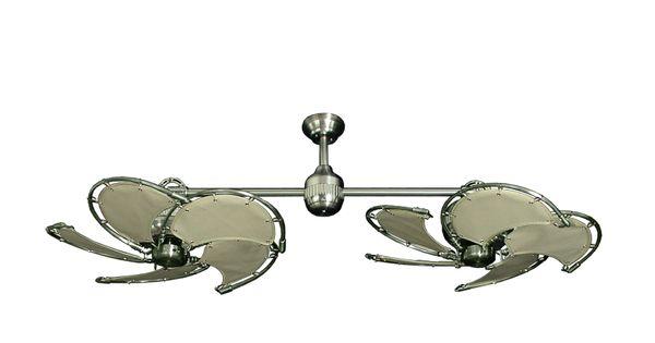 Twin Star II Brushed Steel Nautical Dual Ceiling Fan With