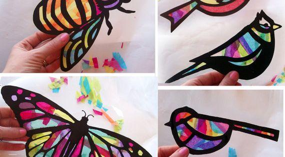 Enfants craft papillon vitrail suncatcher kit avec oiseaux abeilles papier - Papillon en papier de soie ...