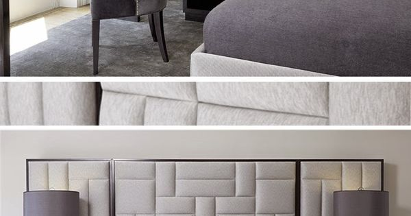 padded upholstered headboard in shades of grey