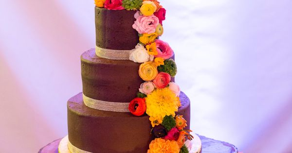 Wedding Cakes Worcester Ma Brown Fall Themed Wedding Cake With Brightly Colored Dahlias Photo By