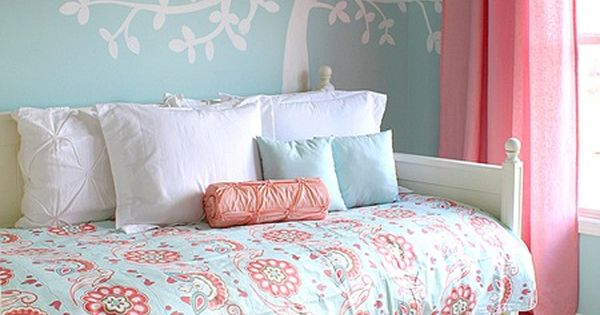 Little Girl Bedroom Ideas In Blue Wall With Tree Wall Decal