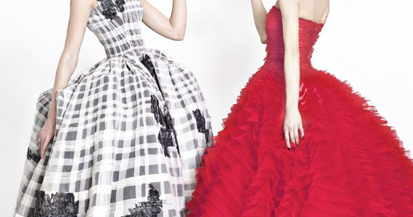 Frida Gustavsson and Aymeline Valade (wearing two gowns from Dior's Spring 2012