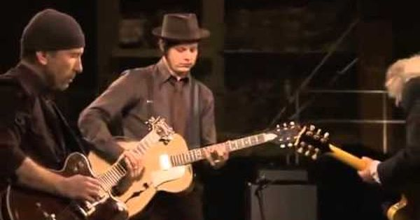 Jack White Teaches Jimmy Page And The Edge How To Play Seven Nation Army Jack White Seven Nation Army Guitar Youtube