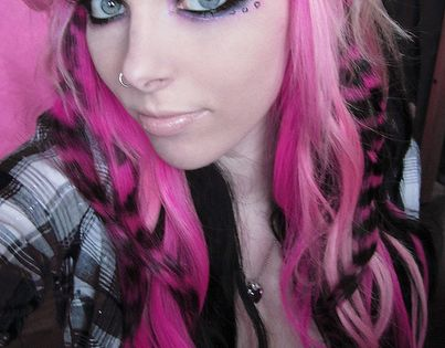 white ,black and pink hair, leopard print makeup hair