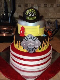 Prime Birthday Cake With Images Fire Cake Fire Fighter Cake Personalised Birthday Cards Veneteletsinfo