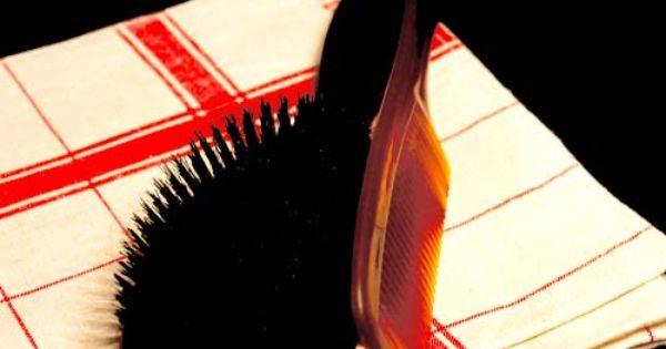 nettoyer ses peignes et brosses avec un peigne r colter les cheveux morts saupoudrer la. Black Bedroom Furniture Sets. Home Design Ideas