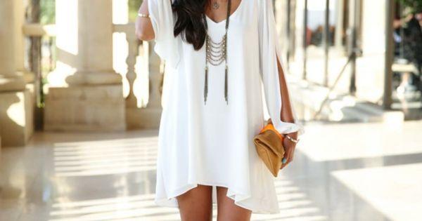 jolie robe blanche courte en style boh me chic tenues. Black Bedroom Furniture Sets. Home Design Ideas
