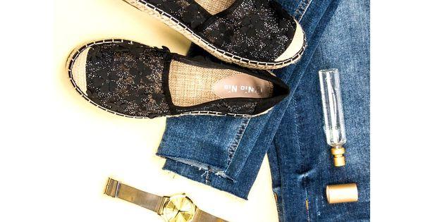 Nio Nio Koronkowe Espadryle W Kwiaty Czarne Shoes Fashion Mule Shoe