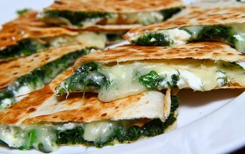 Spinach, Grilled Chicken & Feta Quesadillas