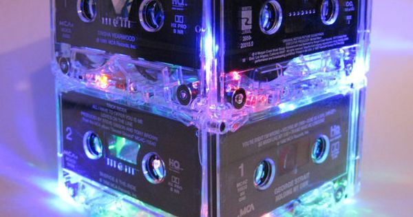 80s Music Lover Cassette Tape Lamp MixTape Night Light Lamp Centerpiece Upcycled