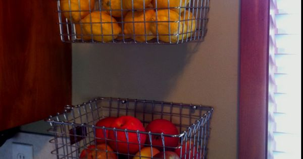 DIY Hanging Fruit Basket (2 locker baskets)! I have the perfect spot