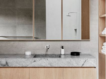 Modern bathroom with concrete, stone and wood.  수입리  Pinterest  화장실 ...