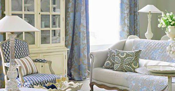 Cottage French Country Living Room Blue And White