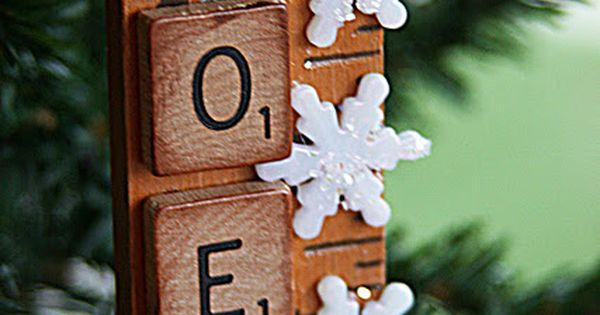 Scrabble ornaments - these are cute! Yardstick, scrabble tiles, snowflakes, and glitter!