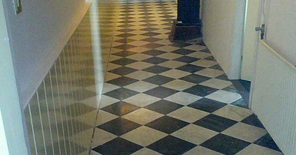 Tegelvloer in gang zwart wit bijkeuken pinterest zwart wit zwart en vloeren - Deco wc zwart wit ...
