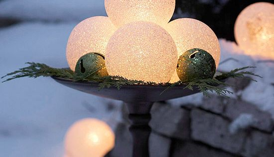 Glowing frosted globes (available in large and small sizes from home-improvement stores)
