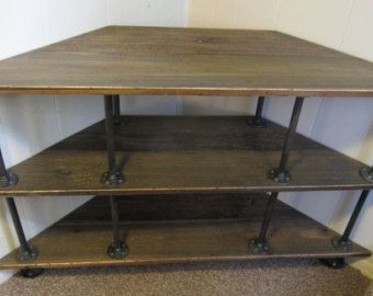 Industrial Tv Stand Iron And Wood For 46 To 52 Tvs Corner Tv