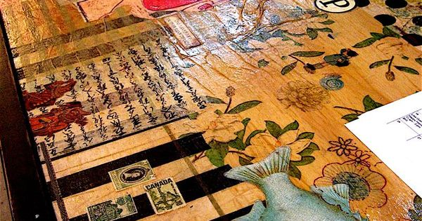 Awesome Decoupaged Counter Top Smallstudioproductions Com