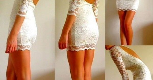 Skin tight white lace dress.
