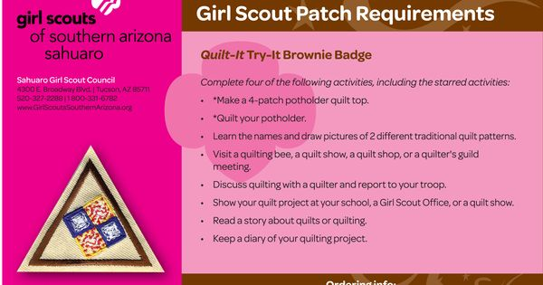 quilt brownie try it girl scouts of southern arizona