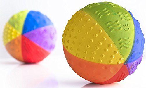 Caaocho Baby Natural Rubber Sensory Ball Rainbow Bpa Phthalates Pvc Free Food Grade Paint Caaocho Http Best Baby Toys Kids Toys Online Natural Toys