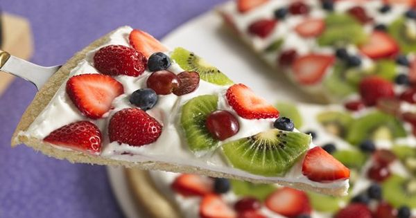 Spring Fruit Pizza - sweet dessert pizza made with a rich sugar-cookie