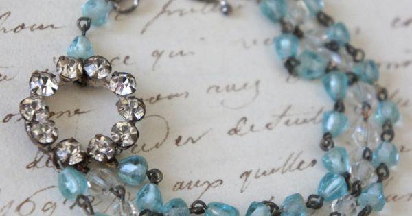 Blu skies vintage assemblage rhinestone bracelet multi for Terry pool design jewelry